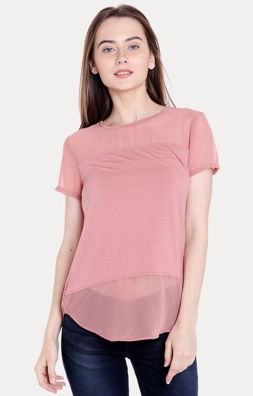 spykar | Spykar Peach Solid Regular Fit Blouson Top