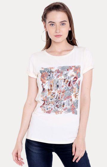 Spykar   Spykar White Cotton Women T-Shirts