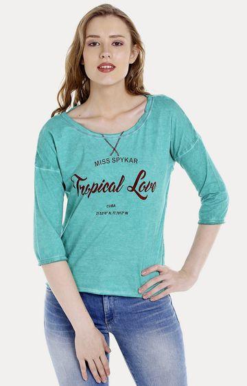 spykar | Spykar Green Printed Regular Fit T-Shirts