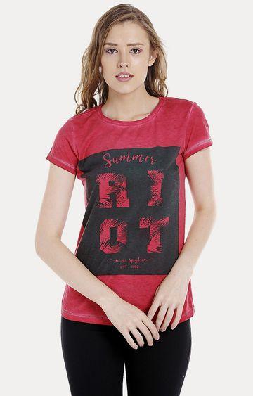 spykar   Spykar Red Printed Regular Fit T-Shirts