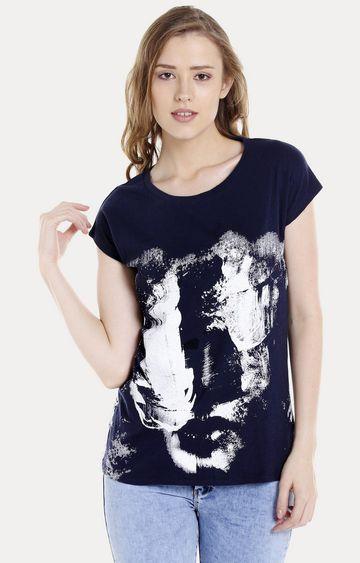 spykar | Spykar Navy Blue Printed Regular Fit T-Shirts