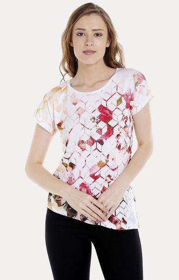Spykar   spykar White Printed Regular Fit T-Shirt