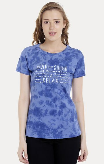spykar | Spykar Blue Printed Regular Fit T-Shirts