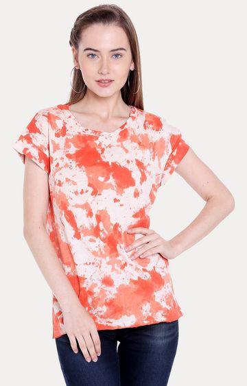 Spykar | spykar Orange Printed Regular Fit T-Shirt