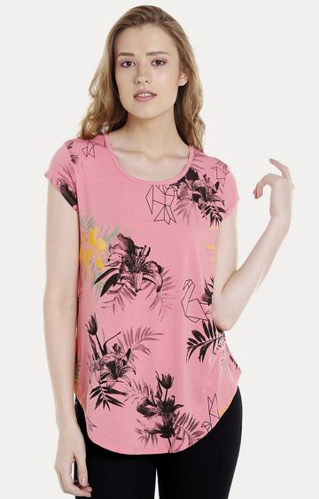 spykar | Spykar Pink Floral Regular Fit T-Shirts