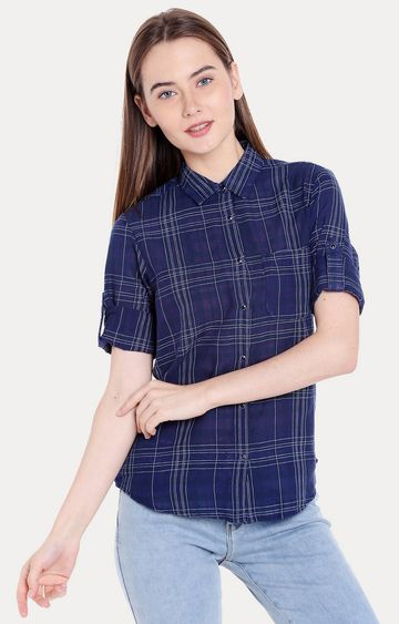 spykar | Spykar Blue Checked Regular Fit Casual Shirts