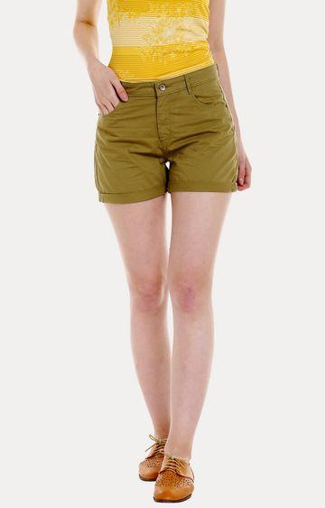 spykar | Spykar Green Solid Skinny Fit Shorts