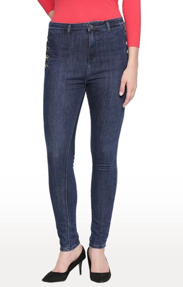 spykar | Spykar Dark Blue Solid High Rise Jeans