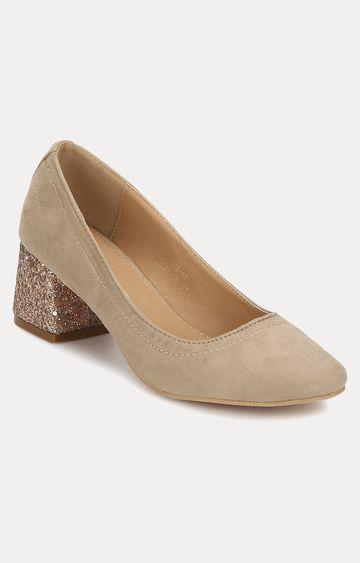 Truffle Collection | Beige Block Heels
