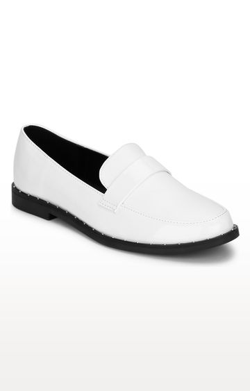 Truffle Collection   White Loafers