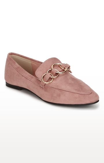 Truffle Collection | Pink Micro Golden Chain Loafers