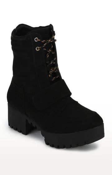 Truffle Collection | Black Suede Cleated Bottom Low Heel Ankle Boots