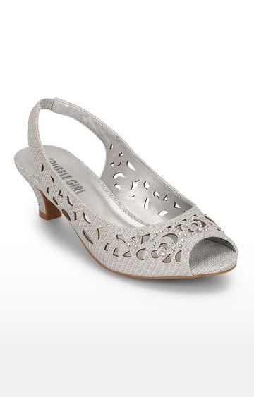Truffle Collection | Silver Back Elastic Peeps Block Heel