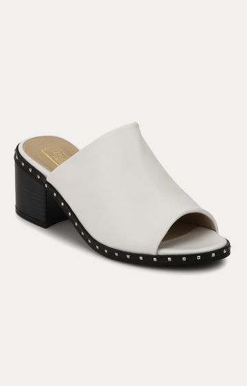 Truffle Collection | White Block Heels