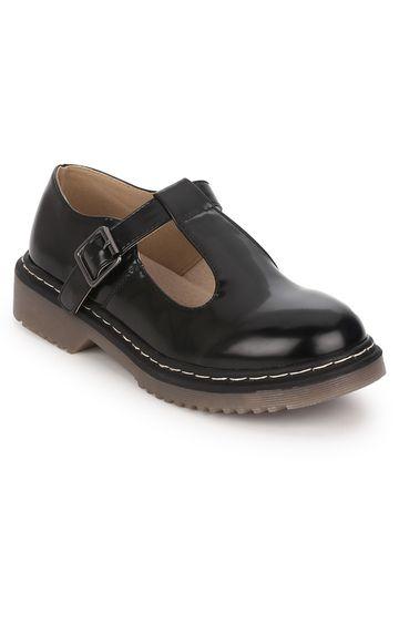 Truffle Collection   Black Hishine Buckle Slip-on