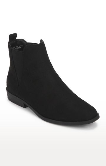 Truffle Collection   Black Micro Low Shaft Ankle Boots