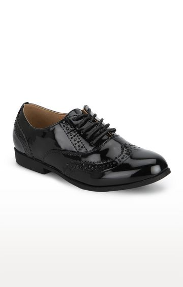 Truffle Collection | Black Pat Patterned Lace-up Brogues Sneakers