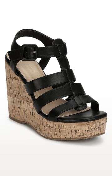 Truffle Collection | Black Strapped Wedges