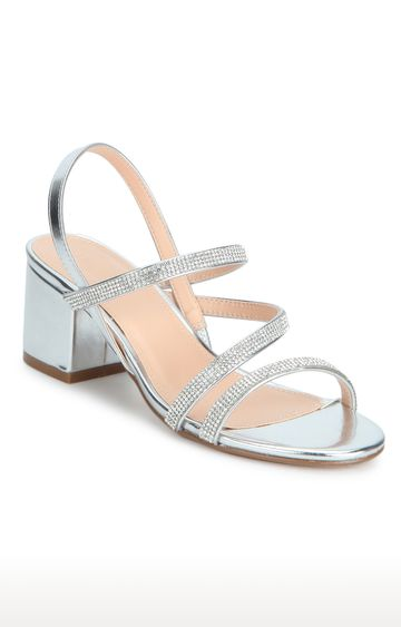 Truffle Collection | Silver Block Heels