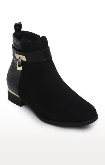 Truffle Collection | Black Micro Front And Croc Back Flat Ankle Boots