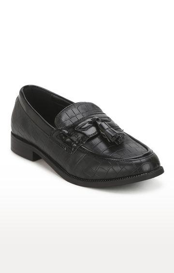 Truffle Collection | Black Croc Tassel Men Loafers