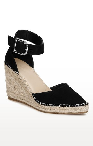 Truffle Collection | Black Micro Covered Jute Wedges