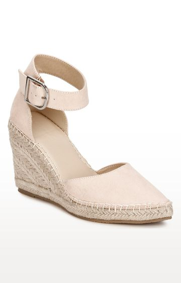 Truffle Collection | Peach Micro Covered Jute Wedges