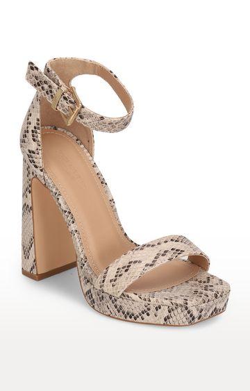 Truffle Collection   Beige Snake Pattern Buckled Block Heels
