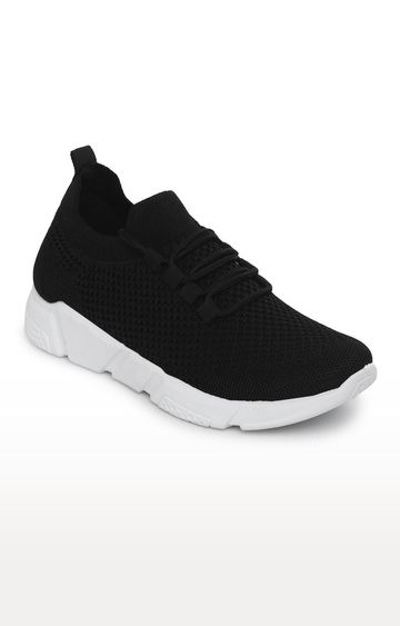 Truffle Collection | Black Knitted Laced Up Sneakers