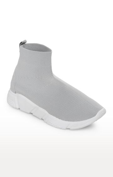 Truffle Collection   Grey Knitted Slip-On Sneakers