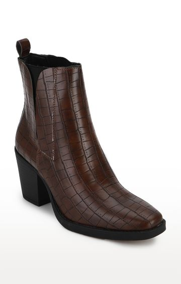 Truffle Collection   Brown Croc Low Block Heel Ankle Boots