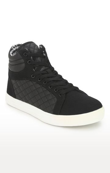 Truffle Collection | Black PU High Top Lace-Up Men Sneakers