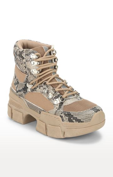 Truffle Collection   Brown Snake Heeled Lace-Up Boots