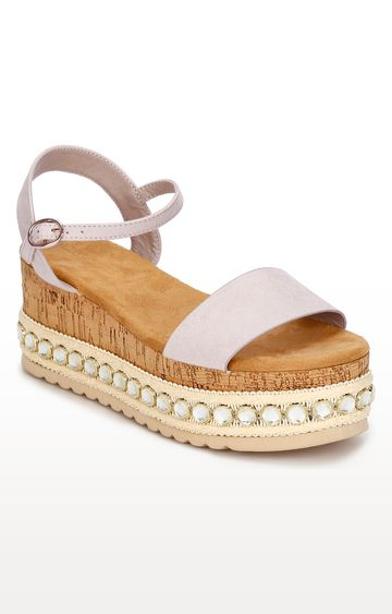 Truffle Collection | Peach Micro Studded Wedges