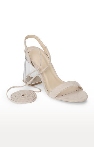 Truffle Collection   Beige Micro Perspex Lace Up Block Heels