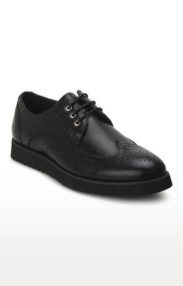 Truffle Collection | Black PU Longwing Blucher Lace-Up Shoes