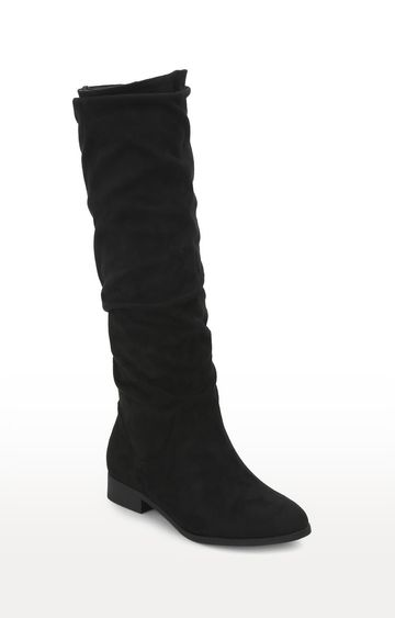 Truffle Collection | Black Micro Slouch Flat Calf Length Long Boots
