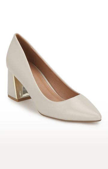 Truffle Collection   Grey PU Belly Low Block Heels