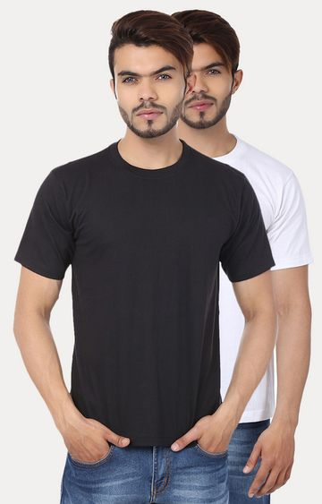 Weardo | Black and White Solid T-Shirt - Pack of 2