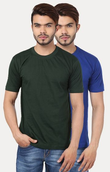 Weardo | Green and Royal Blue Solid T-Shirt - Pack of 2