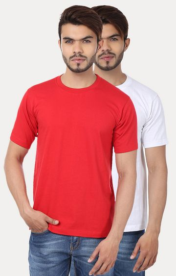Weardo | Red and White Solid T-Shirt - Pack of 2