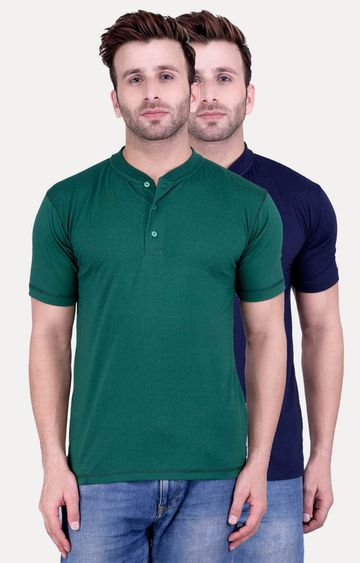 Weardo | Green and Navy Blue Solid T-Shirt - Pack of 2