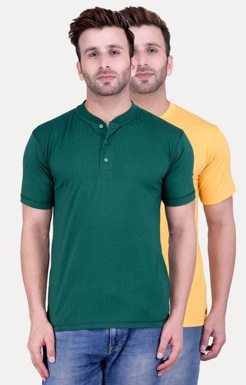 Weardo   Green and Yellow Solid T-Shirt - Pack of 2