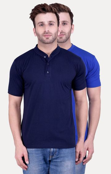 Weardo | Navy and Royal Blue Solid T-Shirt - Pack of 2