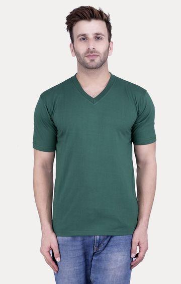 Weardo   Bottle Green Solid T-Shirt