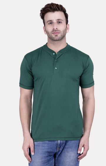 Weardo | Bottle Green Solid T-Shirt