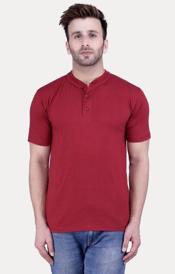 Weardo   Maroon Solid T-Shirt