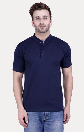 Weardo   Navy Blue Solid T-Shirt