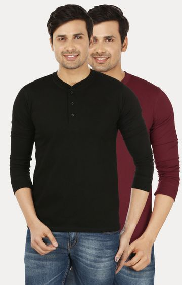 Weardo | Black and Maroon Solid T-Shirt - Pack of 2