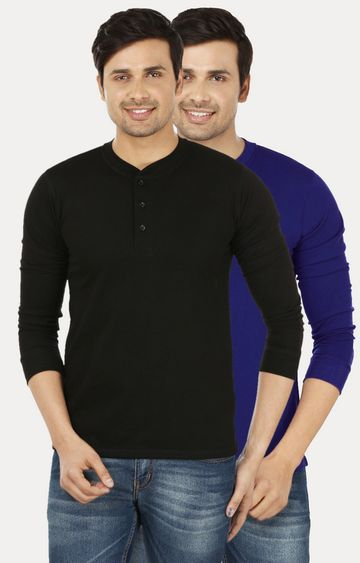 Weardo | Black and Royal Blue Solid T-Shirt - Pack of 2